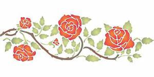 Rose Border Stencil 37 x 11.5cm Reusable Flower Border Wall Template Furniture
