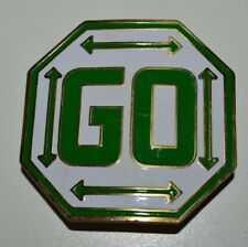 Nice Vintage 1970s Custom Brass Pass GO Monopoly Octagon Game Belt Buckle Rare