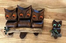 Vintage Mid Century Owl Family Art Hand Carved Wood Retro Wall Hanging Owls