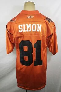 VTG Reebok BC Lions Geroy Simon #81 CFL Football orange jersey size Medium