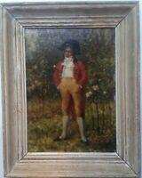 19th century Antique oil painting Young Man Leon DANSAERT (1830-1909)