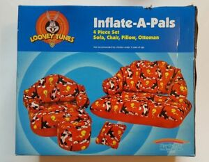 Looney Tunes Inflate-A-Pals 4 Piece Set Sofa, Chair, Pillow and Ottoman 1997 NEW