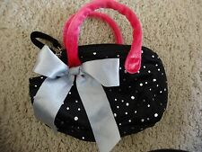 Stuffed Animal Carrier Bag Purse Black Silver Dots & Pink
