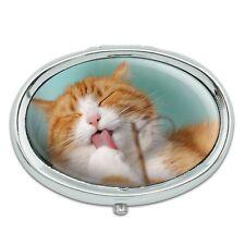 Cute Kitty Cat Bath Metal Oval Pill Case Box