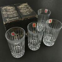 Fostoria High Ball Glass Set of 4 Unused in Box with Stickers Lead Crystal Clear