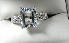 2.47 Ct. Emerald Cut Aquamarine Filigree Ring Sterling Silver Free Sizing