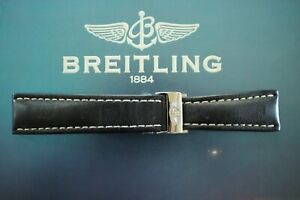 BREITLING 442X 24-20 BLACK CALF DEPLOYMENT BUCKLED WATCH BAND WATCHBAND STRAP *