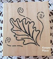 Large Scroll Leaf Leaves Mounted Rubber Stamp Brand New #223