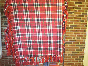 "HANDMADE RED PLAID THROW---APPROX. 90""L X 44"" W"