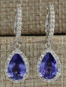 Fashion Jewelry 925 Silver Sapphire Dangle Drop Huggie Earrings Wedding Bride