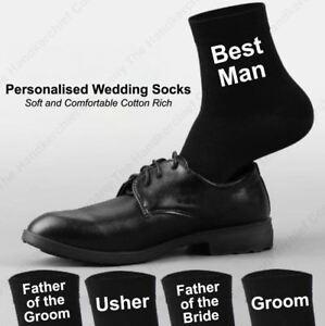 Groomsmen Socks Men's Personalised Wedding Gift Customised Black & White