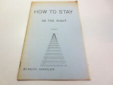 How to Stay on the Right Track by Ralph Harrelson vintage Christian paperback