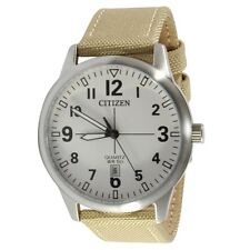 Citizen BI1050-05A White Brown Nylon Strap Men's Quartz Watch