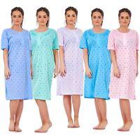 Ladies Women Nightwear Crew Neck Button SUN Printed Short Sleeve Long Nightie