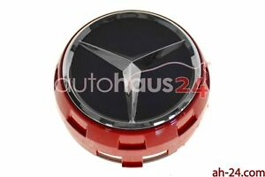 MERCEDES BENZ 0004000900 RAISED 1 AMBER RED /BLACK CENTER CAP W/ CHROME STAR OEM