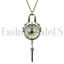 Винтаж ручная перемотка механический стимпанк скелет карманные часы ожерелье цепь