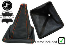 ORANGE STITCH LEATHER GEAR BOOT WITH PLASTIC FRAME FOR VW GOLF MK1 RABBIT JETTA