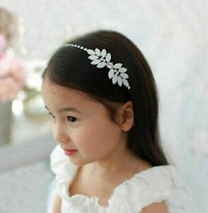 Flower Girl Holy Communion Bridal Tiara Opal Resin & Rhinestone Headband Silver
