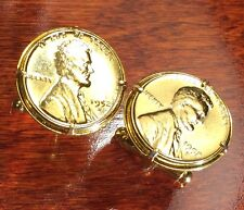 Vintage 1909-1958 Gold Plated Abraham Lincoln Wheat Cent Penny Coin Cufflinks!