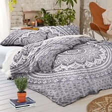 Gray Ombre Indian Doona Duvet Quilt Cover Tapestry Cotton Queen Size Bedding Set