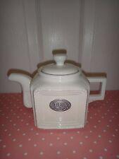 THL Square Porcelain Tea Pot White Silver Tone Plaque 5 inches (H) x 8 in(W) NEW