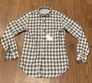 $295 Mens Authentic Eleventy Modern-fit Camicia Plaid Shirt Grey/Brown Small