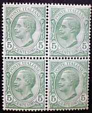 Italia Regno 1906 MNH** quartina 5c verde Sass. 81