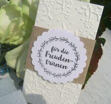20 Freudentränen-Taschentücher geprägt GASTGESCHENK Vintage HOCHZEIT Blumenranke