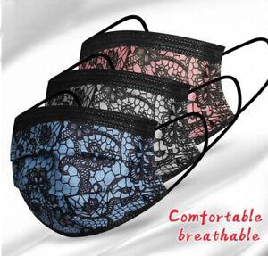 Mundschutz Spitze Optik Einweg Maske mit Nasenbügel schwarz grau rosa blau