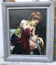 1960s Framed ITALIAN IMPRESSIONIST OIL PAINTING OF LADY  signed Pina ...