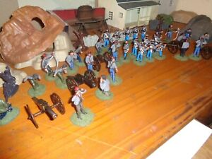 Painted plastic 54mm American Civil War Cannons and infantry