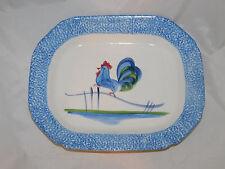 "N.S. Gustin Los Angeles Pottery 16"" Blue Stipple Sponge Rooster Platter"