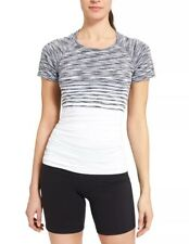 NWT Athleta Finish Fast Spacedye Tee Top Workout Shirt Black/White, sz XL