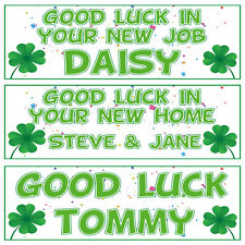 2 PERSONALISED 800mm x 297mm GOOD LUCK BANNERS ANY NAME ANY MESSAGE