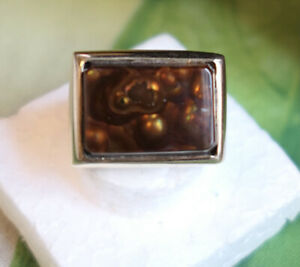 Men's Heavy 14K Gold/Fire Agate Ring