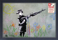 BANKSY CRAYON SHOOTER 13x19 FRAMED GELCOAT POSTER STREET ART GRAFFITI ARTIST NEW