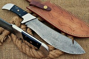HUNTEX Custom Handmade Damascus Steel 350mm Long BuffaloHn Hunting Nessmuk Knife