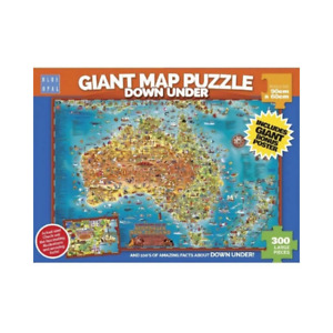 Blue Opal Giant Map Of Australia Down Under 300 Piece Jigsaw Puzzle NEW