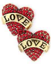 F2 Red Crystal Heart Love Post EARRINGS Valentine Tattoo Style Rhinestones NEW