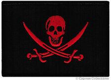 POISON BIKER PATCH flag SKULL SWORDS rebel jolly roger BLOOD RED VERSION