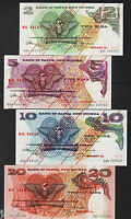Papua New Guinea.  (1975) SPECIMEN SET : 2,5,10 & 20 Kina. All with 1st Prefixes