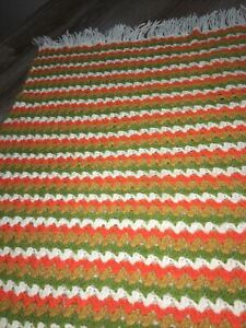 Granny Chevron Fall Afghan Quilt Orange 56x43 Green Vintage Throw Blanket