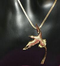 Vintage Necklace Flying Phoenix Pendant Brushed Gold Tone Beautiful Exc Con 0321