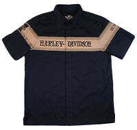HARLEY DAVIDSON Mens Large Embroidered Black Tan Short Sleeve Button Down EUC