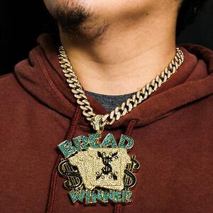 "Huge Money Bread Winner Pendant Gold Pt 20"" Fully Cz Hip Hop Cuban Choker Chain"