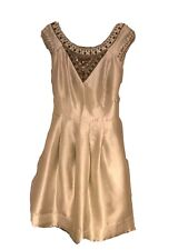 Spotlight Warehouse Gold Champagne Metallic Bead Embellished Yoke Dress Size 12
