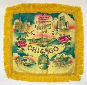 "Vintage Chicago Illinois Satin Souvenir Pillow Case Cover With Fringe 18"" Square"