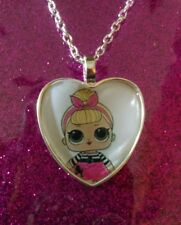 Silver Plated Heart Pendant Necklace LOL Doll Sis Swing