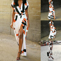 Women's Summer V-neck Floral Short Sleeve Long Maxi Dress Party Beach Sundress
