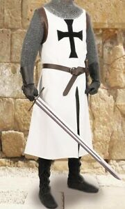 MEDIEVAL BLACK TEMPLAR Tunic Surcoat Crusader Sleeveless Renaissance LARP